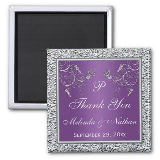 Purple and Silver Floral Wedding Favour Magnet