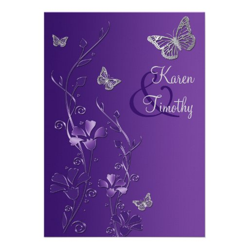 Purple and Silver Floral with Butterflies Invite