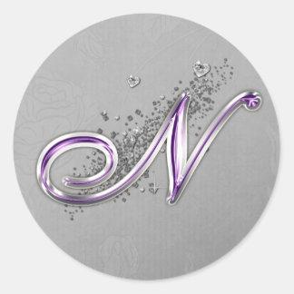 Purple and Silver Glitter Monogram N Sticker