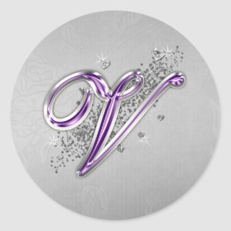 Purple and Silver Glitter Monogram V Sticker