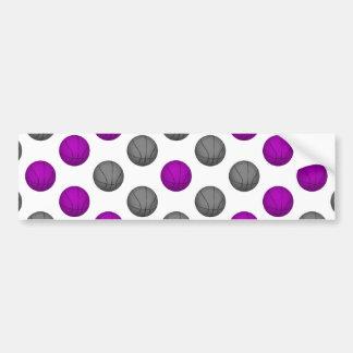 Purple and Silver Gray Basketball Pattern Bumper Sticker