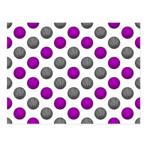 Purple and Silver Gray Basketball Pattern Post Card