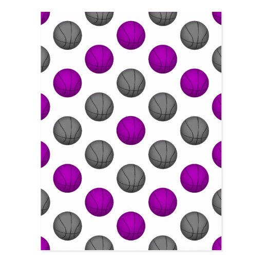 Purple and Silver Gray Basketball Pattern Post Cards