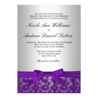 Purple and Silver Lace Wedding Card