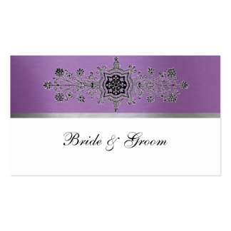 Purple and Silver Metallic Place Cards Business Card Template