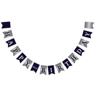 Purple and Silver Modern Happy Birthday Banner