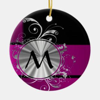 Purple and silver monogram christmas ornament