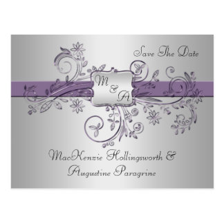 Purple and Silver Monogram Floral Swirls Save The  Post Cards
