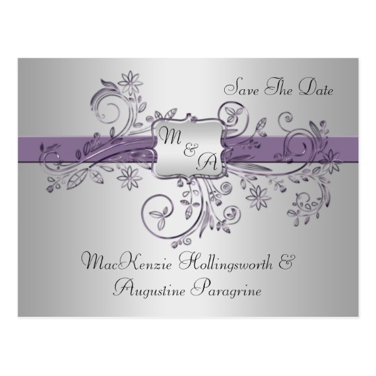 Purple and Silver Monogram Floral Swirls Save The
