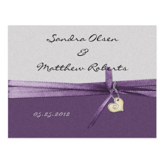 Purple and Silver Save The Date Post Card