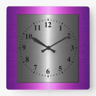 Purple and Silver Stainless Steel Metal Square Wall Clock
