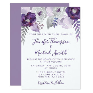 Purple and Silver Watercolor Floral Wedding Card