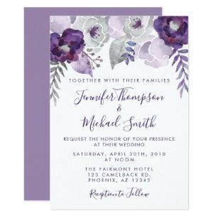 purple wedding invitations zazzle co uk