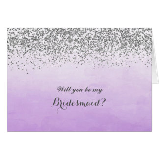 Purple and Silver Will You Be My Bridesmaid Card