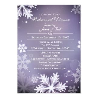 Purple and Silver Winter Rehearsal Dinner invite