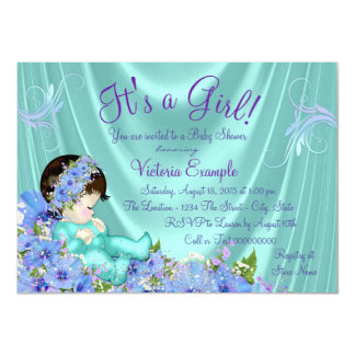 Purple and Teal Blue Baby Shower 11 Cm X 16 Cm Invitation Card