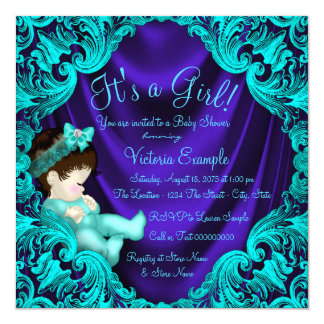 Purple and Teal Blue Baby Shower 13 Cm X 13 Cm Square Invitation Card