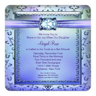 Purple and Teal Blue Bat Mitzvah 13 Cm X 13 Cm Square Invitation Card