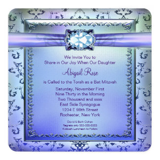 Purple and Teal Blue Bat Mitzvah Card