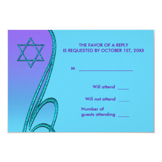 Purple and Teal Blue Bat Mitzvah RSVP 9 Cm X 13 Cm Invitation Card