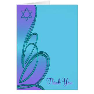 Purple and Teal Blue Bat Mitzvah Thank You Card