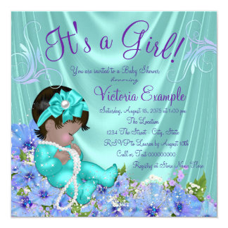 Purple and Teal Blue Floral Ethnic Baby Shower 13 Cm X 13 Cm Square Invitation Card