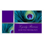 Purple and Teal Blue Peacock Pack Of Standard Business Cards