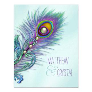 Purple and Teal Blue Peacock Wedding 11 Cm X 14 Cm Invitation Card