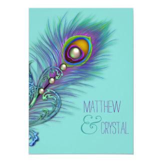 Purple and Teal Blue Peacock Wedding 13 Cm X 18 Cm Invitation Card