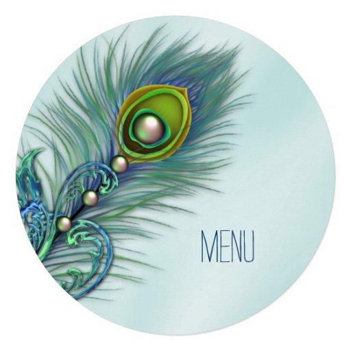 Purple and Teal Blue Peacock Wedding Menu Custom Announcement