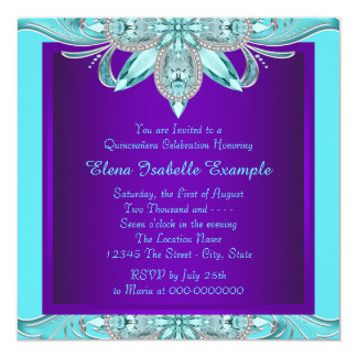 Purple and Teal Blue Quinceanera 13 Cm X 13 Cm Square Invitation Card