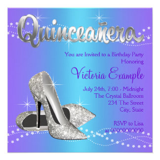 Purple and Teal Blue Quinceanera Custom Announcements