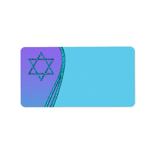Purple and Teal Blue Star of David Address Labels