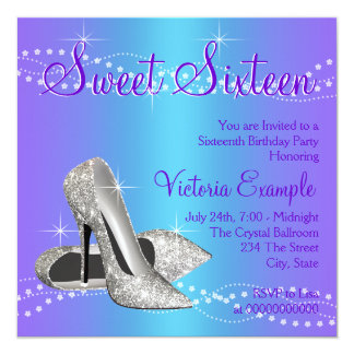 Purple and Teal Blue Sweet 16 Party 13 Cm X 13 Cm Square Invitation Card