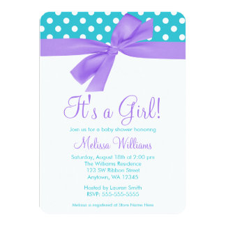 Purple and Teal Bow Polka Dot Baby Shower 4.5x6.25 Paper Invitation Card