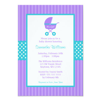 Purple and Teal Carriage Striped Dots Baby Shower 5x7 Paper Invitation Card