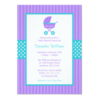 Purple and Teal Carriage Striped Dots Baby Shower 4.5x6.25 Paper Invitation Card