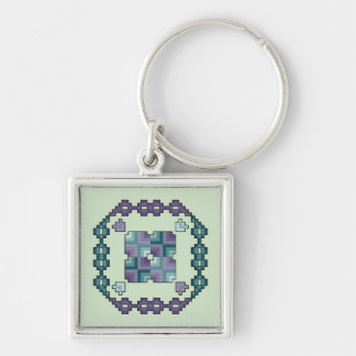 Purple and Teal Cross Stitch Quilt Square Keychain