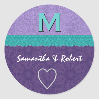 Purple and Teal Damask and Lace Monogram V2A Round Sticker