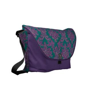 Purple and Teal Damask Messenger Bag