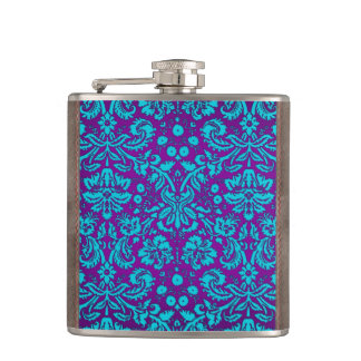 Purple and Teal Damask Pattern Hip Flask