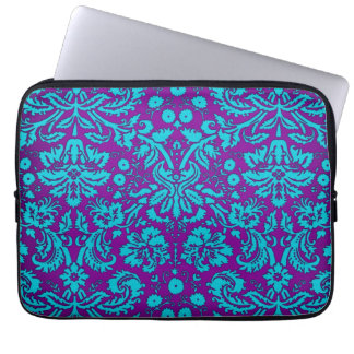 Purple and Teal Damask Pattern Laptop Sleeve