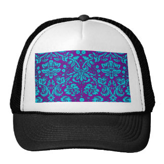 Purple and Teal Damask Pattern Mesh Hats