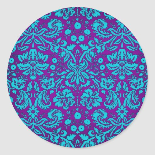 Purple and Teal Damask Pattern Round Sticker