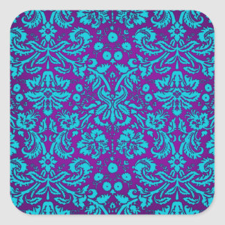 Purple and Teal Damask Pattern Stickers