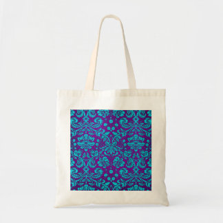 Purple and Teal Damask Pattern Tote Bag