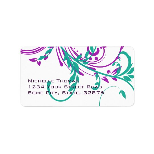 Purple and Teal Double Floral Return Address Address Label