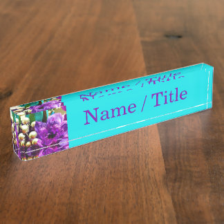 """""""Purple and Teal Floral"""" Desk Name Plates"""