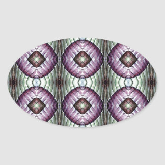 Purple and teal geometric circle pattern oval sticker