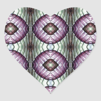 Purple and teal geometric circle pattern heart stickers